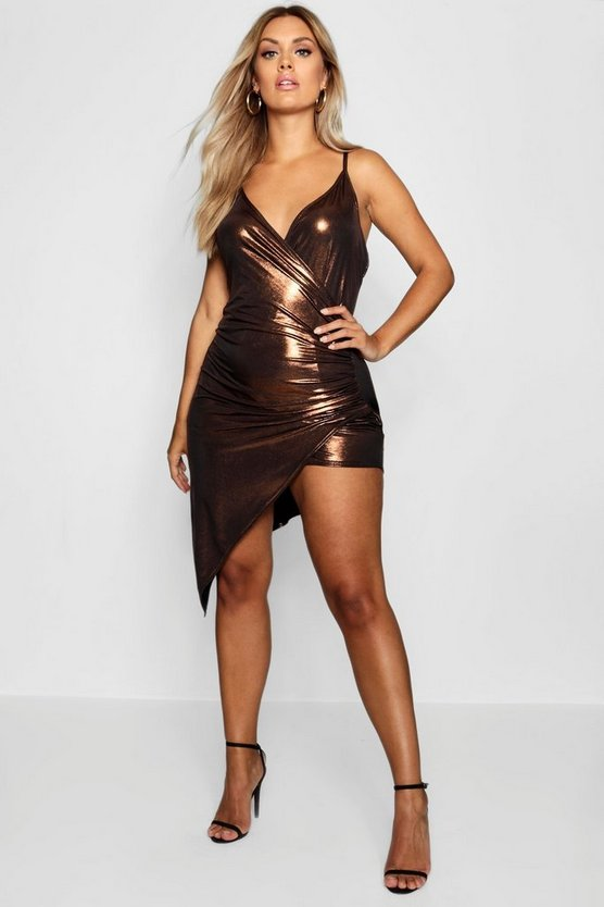 Plus Metallic Wrap Split Side Dress
