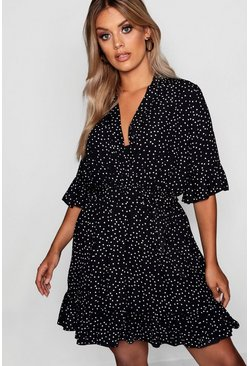Plus Spotty Wrap Skater Dress, Black