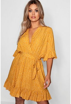 Plus Spotty Wrap Skater Dress, Mustard, Donna