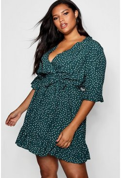 Plus Spotty Wrap Skater Dress, Sage