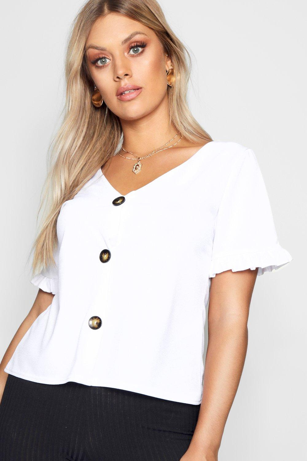 stone Top Horn Sleeve Frill Plus Down Button fwxY1ZWSq