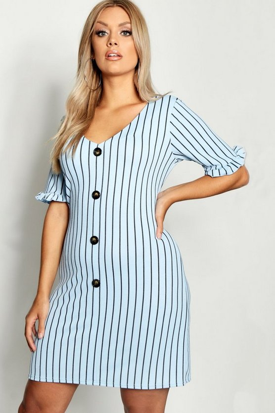 Plus Stripe Frill Sleeve Horn Button Shift Dress
