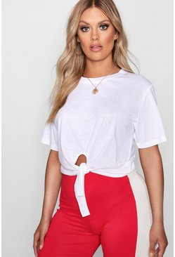 White Plus Tie Front Cotton T-Shirt