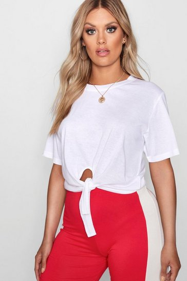 Womens White Plus Tie Front Cotton T-Shirt