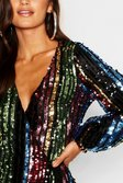 568c7c8e813f ... Womens Black Petite Rainbow Sequin Blouson Sleeve Wrap Dress  alternative image