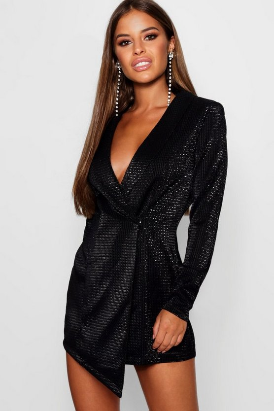 Womens Black Petite Metallic Blazer Dress