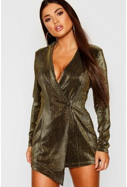 Womens Gold Petite Metallic Blazer Dress