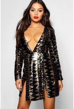 Womens Gold Petite Sequin Aztec Split Detail Bodycon Dress