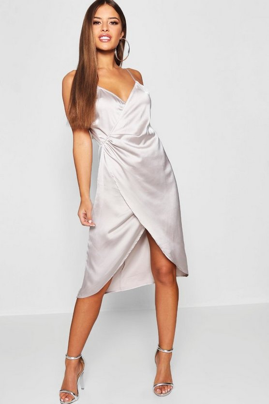 Petite Satin Wrap Midi Dress