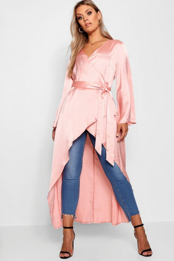 Womens Blush Plus Waterfall Belted Duster
