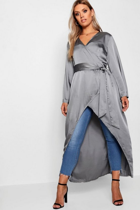 Plus Waterfall Belted Duster