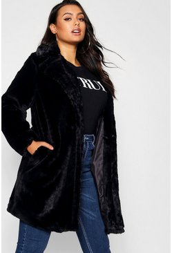 Womens Black Plus Collared Faux Fur Coat
