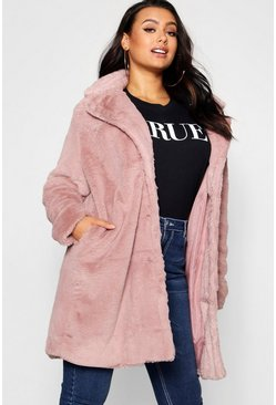 Womens Blush Plus Collared Faux Fur Coat