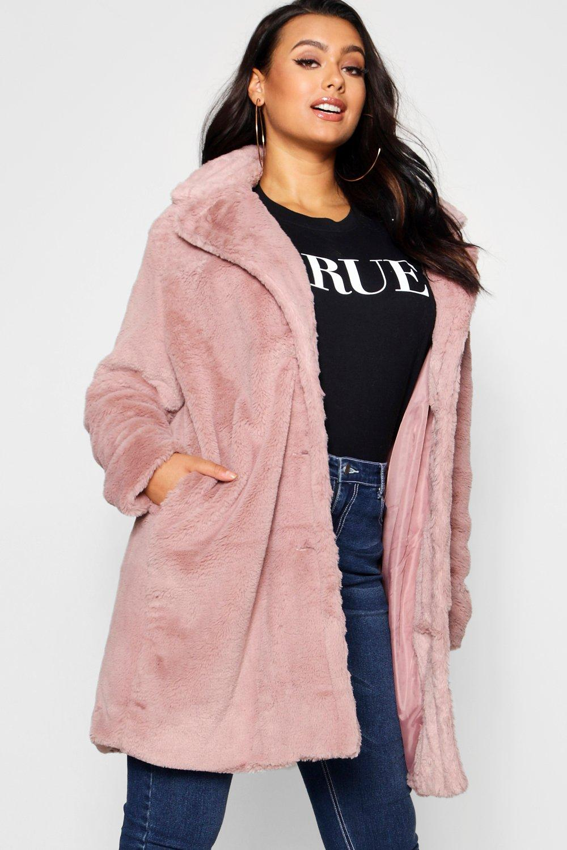 sintética Abrigo rosa en piel cuello con Plus pálido q7xZ7RzwW