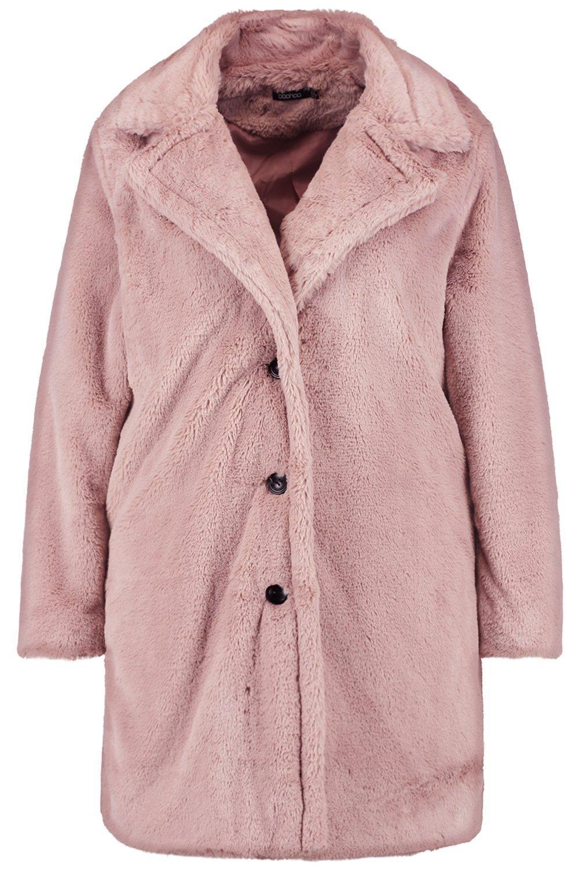 en piel rosa pálido cuello Plus Abrigo sintética con WHEnFAAqag