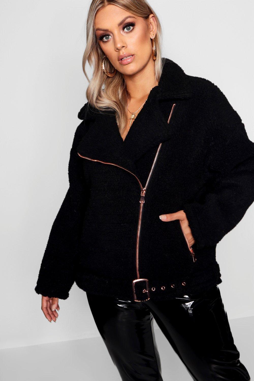 7fe1168e155 Plus Teddy Faux Fur Biker Jacket