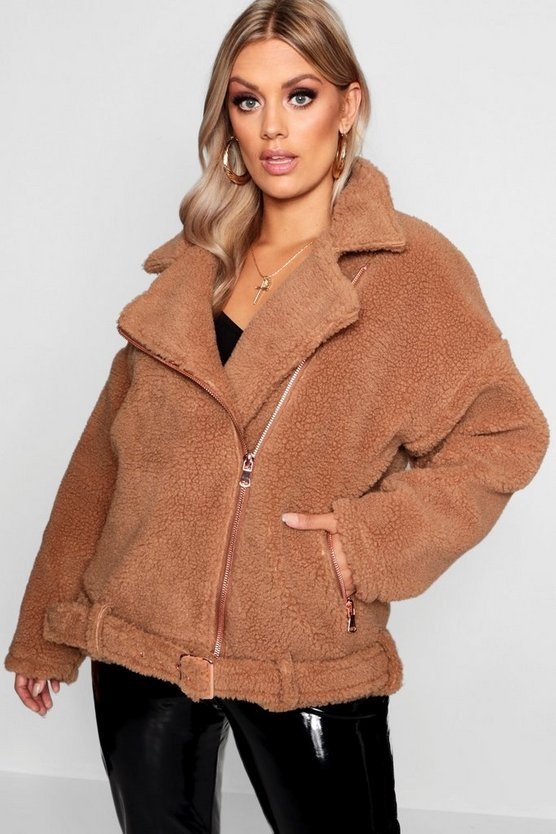 Womens Brown Plus Teddy Faux Fur Biker Jacket