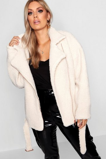 Womens Cream Plus Teddy Faux Fur Biker Jacket