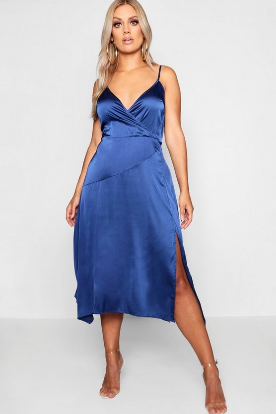 Womens Midnight Plus Wrap Strappy High Split Satin Midi