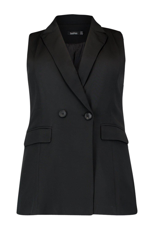 negro largo doble Plus mangas sin con Blazer botonadura PwHvqZW