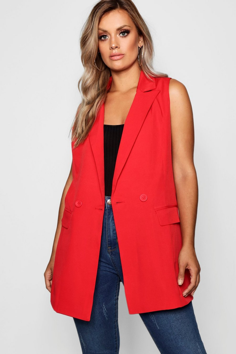252f2ba9ac9 Plus Longline Double Breasted Sleeveless Blazer