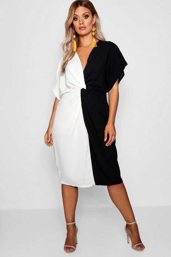 Plus Plunge Colour Block Twist Front Midi Dress