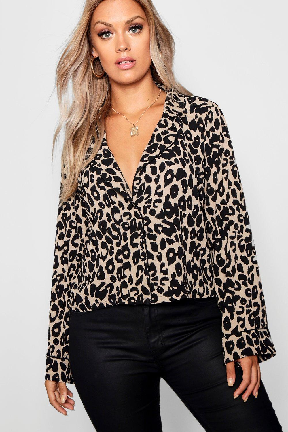 051263c4eb Plus Leopard Print Crop Shirt. Hover to zoom