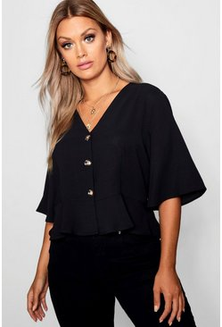 Womens Black Plus Hem Horn Button Hem Top