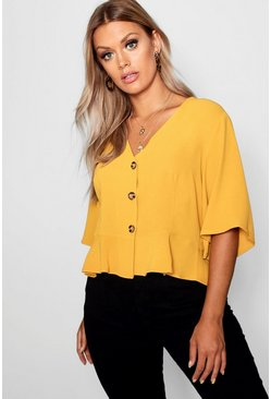 Mustard Plus Hem Horn Button Hem Top