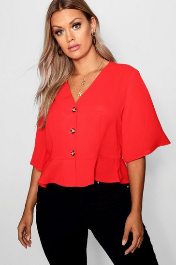 Womens Red Plus Hem Horn Button Hem Top