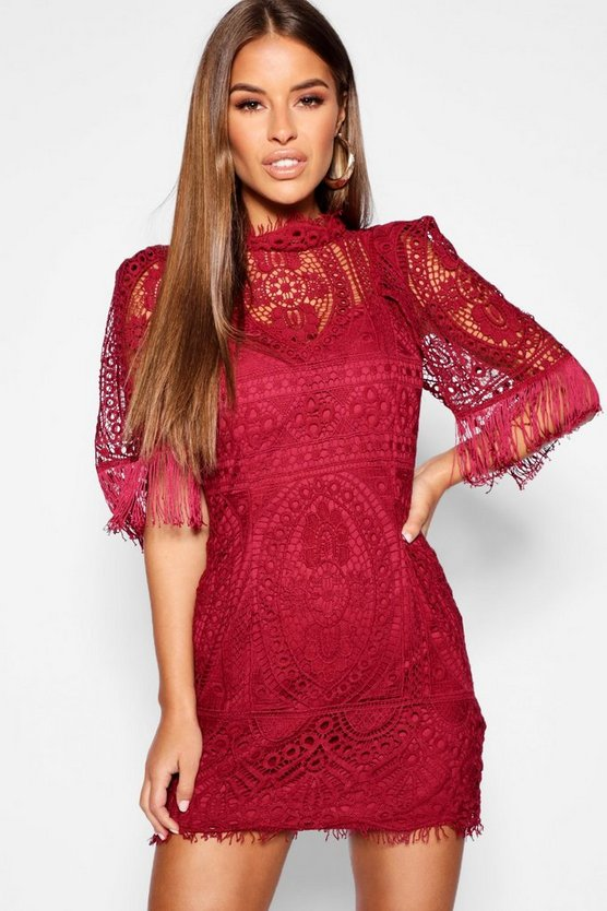 Womens Berry Petite Cord Lace Tassel Sleeve Bodycon Dress