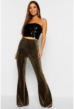 Womens Gold Petite Metallic Woven Flare Trouser