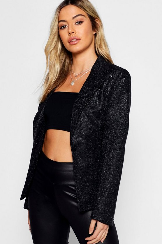 Womens Black Petite Metallic Blazer