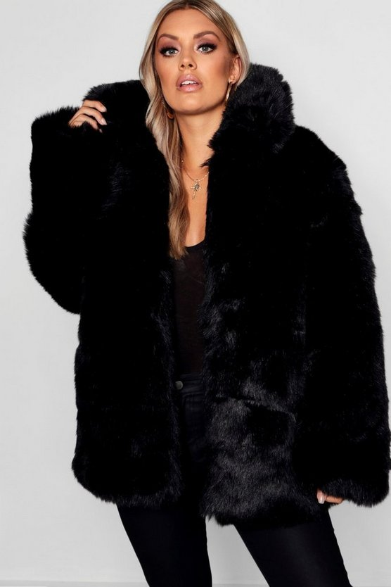 Plus Panelled Faux Fur Coat