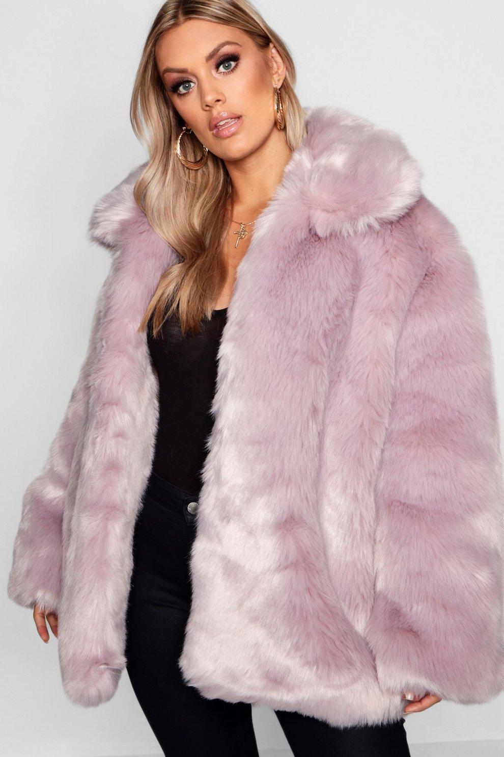 77c7b8fcde47d Plus Panelled Faux Fur Coat