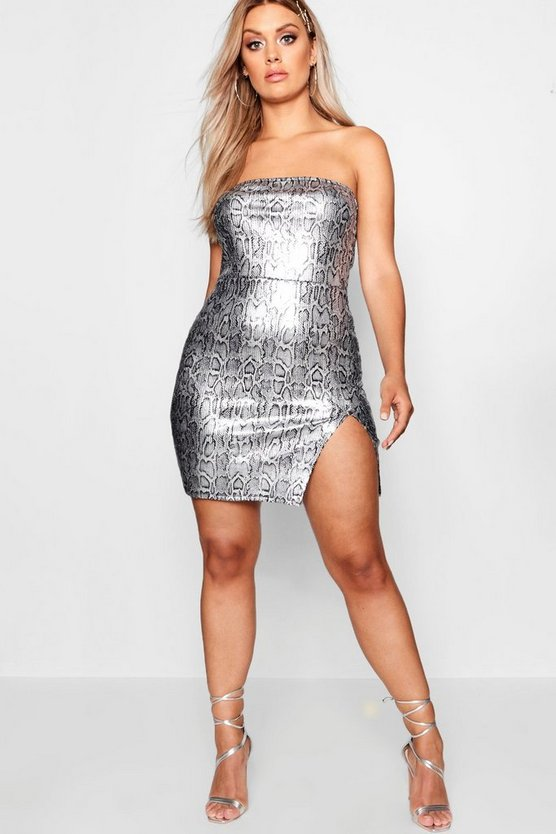 Womens Silver Plus Sequin Snake Bandeau Dress