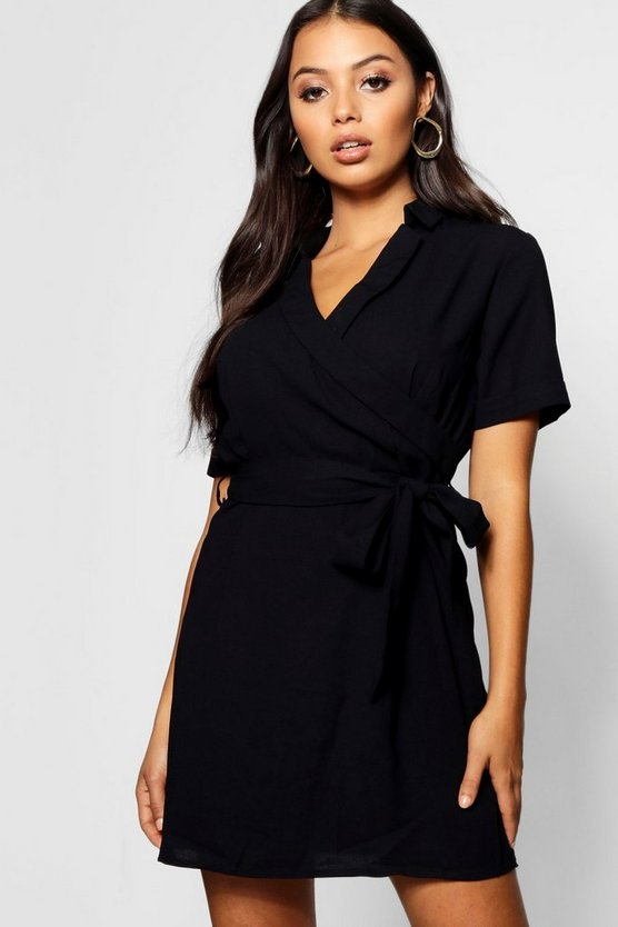 Petite Woven Wrap Tailored Dress