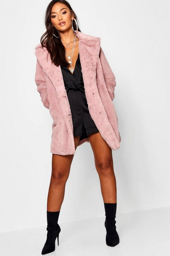 Womens Blush Petite Collared Faux Fur Coat