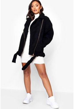 Black Petite Teddy Faux Fur Biker Jacket