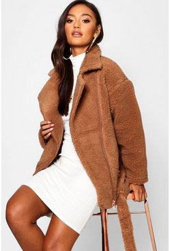Womens Brown Petite Teddy Faux Fur Biker Jacket