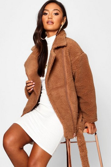 Brown Petite Teddy Faux Fur Biker Jacket