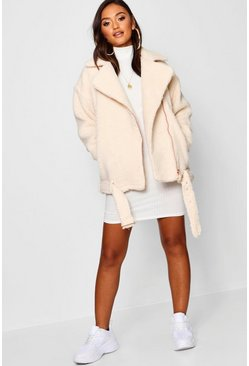 Cream Petite Teddy Faux Fur Biker Jacket