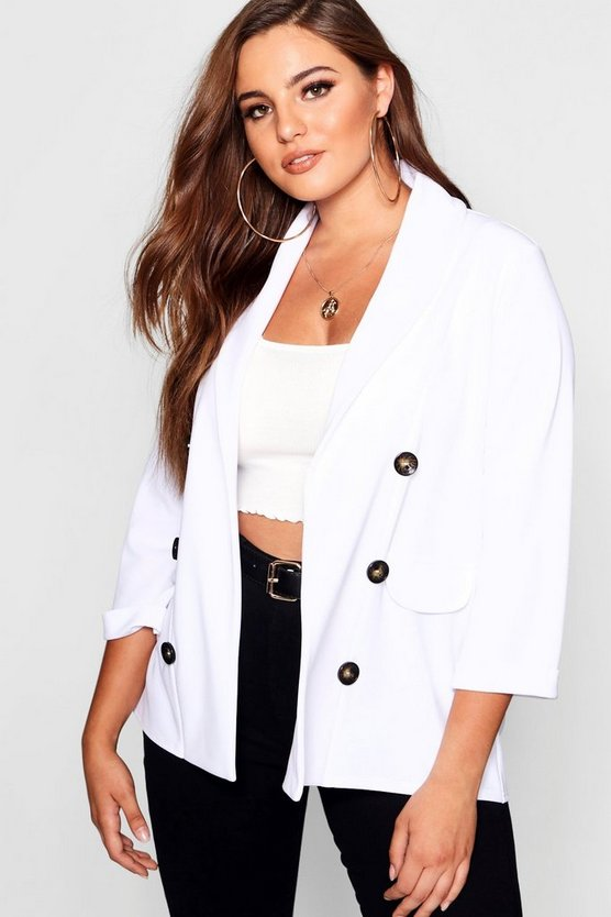 Plus Horn Button Boyfriend Blazer