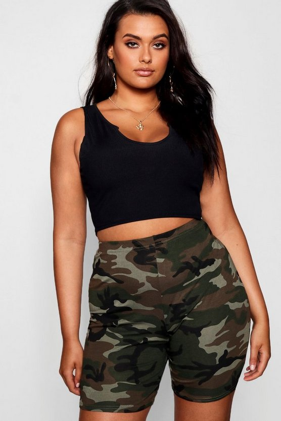 Plus Camo Print Cycling Shorts