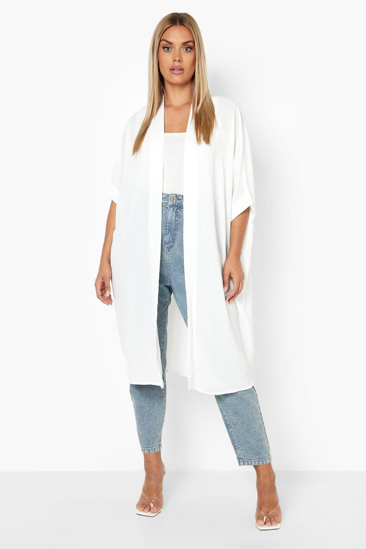 Shawls & Wraps | Fur Stole, Lace, Fringe Womens Plus Woven Longline Kimono - White - 16 $25.00 AT vintagedancer.com