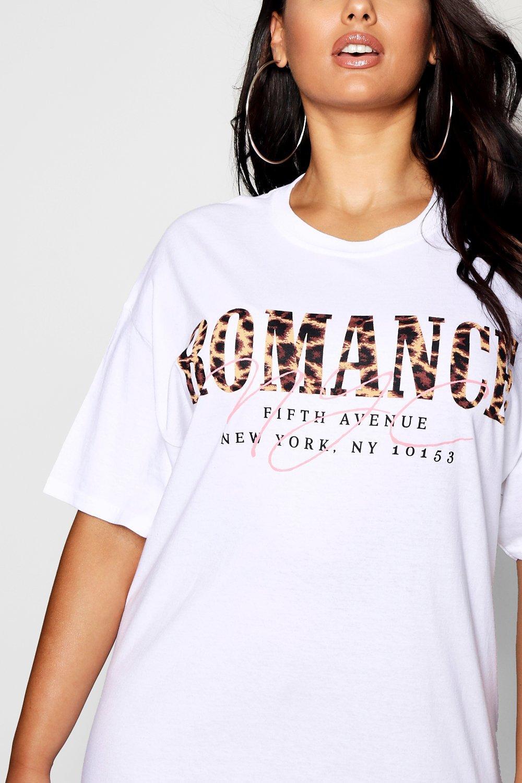 de eslogan Plus con y Romance estampado leopardo Camiseta negro SXRq5
