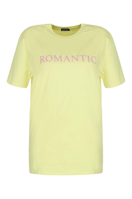 Romantic eslogan Plus con amarillo Camiseta OTRax