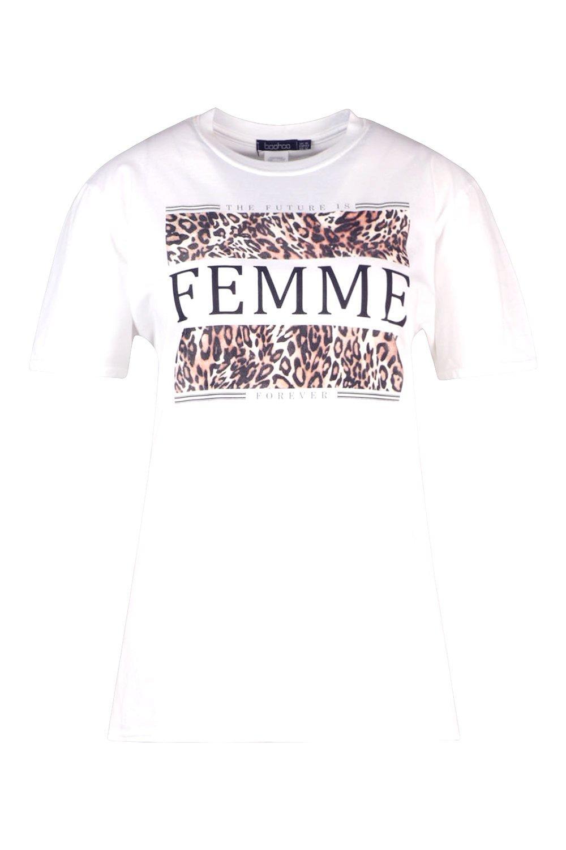 blanco estampado leopardo y Femme Camiseta de Plus eslogan con 84AnaZxwq