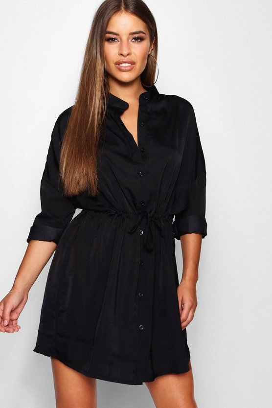 Womens Black Petite Satin Tie Waist Shirt Dress