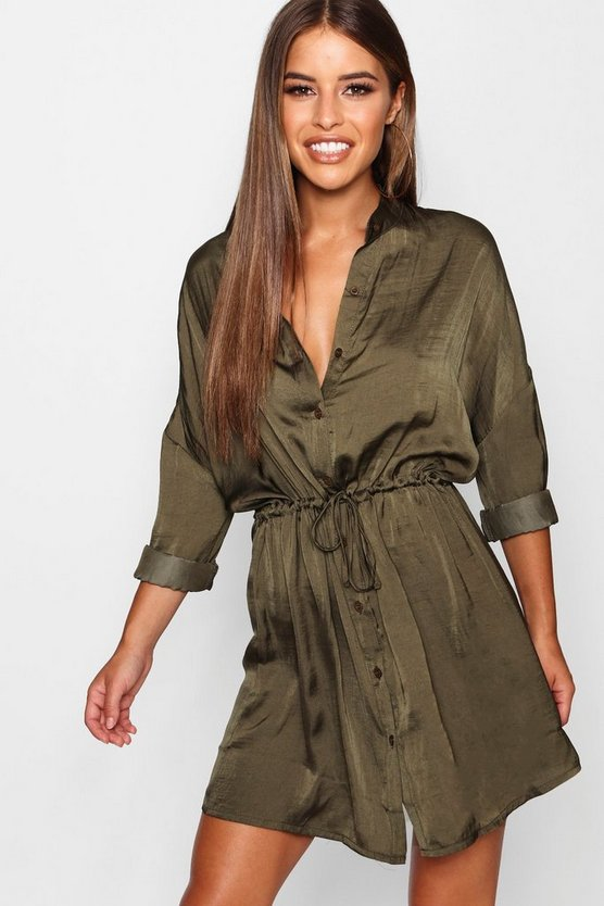 Petite Satin Tie Waist Shirt Dress